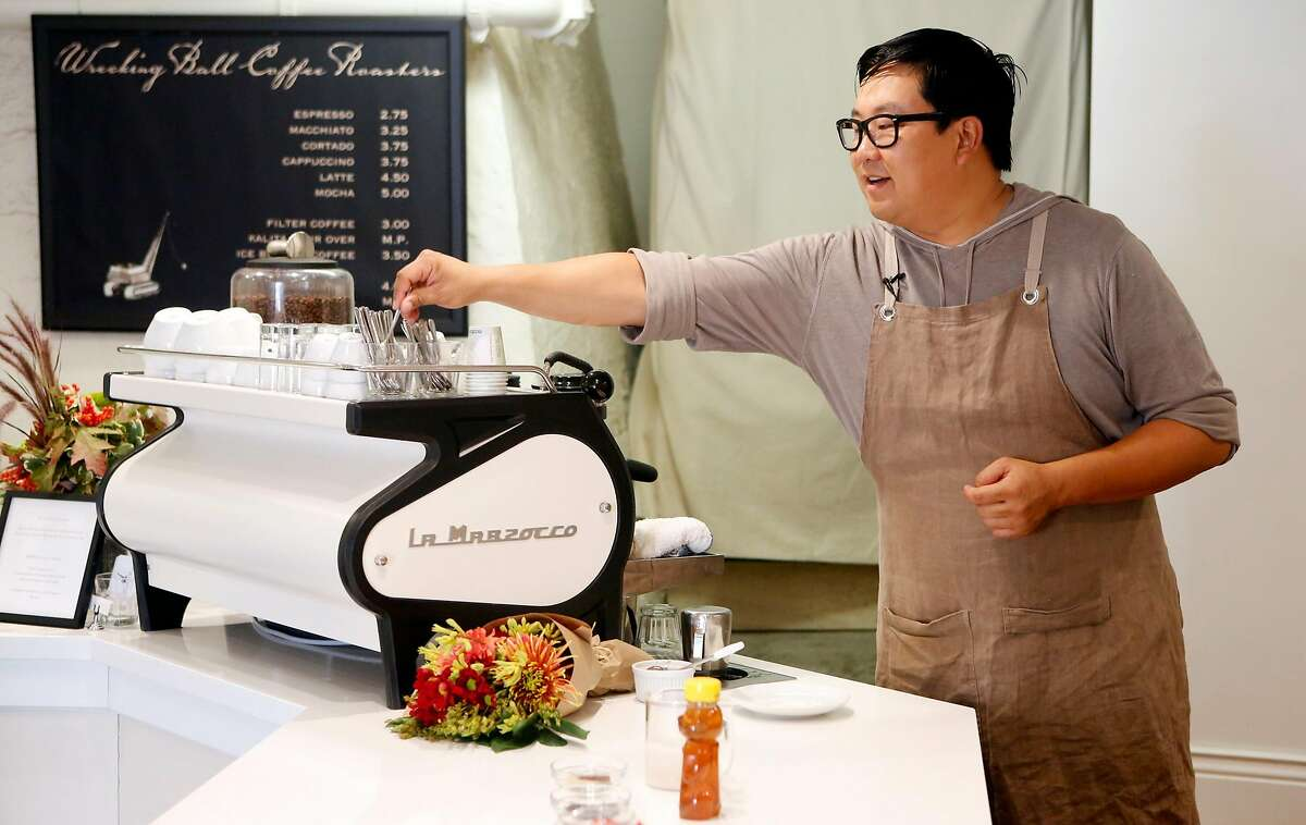 Nick Cho prepares a Karl the Latte at Wrecking Ball Coffee in San Francisco Wednesday October 13, 2015.