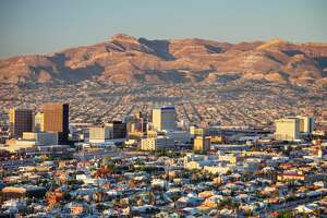 Downtown El Paso with Juarez, Mexico in the background