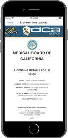 A sample screenshot from the new app introduced by the Medical Board of California. The app helps patients learn about disciplinary action against their doctors.