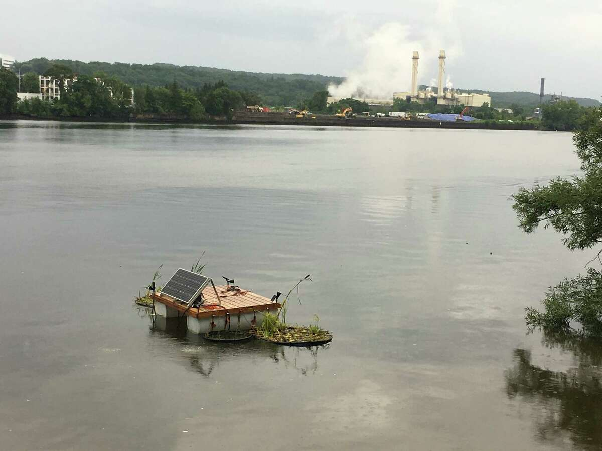 Radix launched its floating island on the Hudson River on Thursday that uses vegetation to filter out sewage waste that gets dumped into the river. The solar-powered device is located just off the shore of Island Creek Park in Albany's South End where the Port of Albany is located.