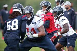 Houston Texans quarterback Stephen Morris (6) drops back to pass during training camp at The Greenbrier Sports Performance Center on Thursday, July 26, 2018, in White Sulphur Springs, W.Va.