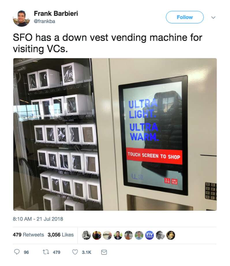 Twitter had a field day making fun of San Francisco for a vending machine in the airport that dispenses Uniqlo vests. Photo: Screenshot Via Twitter