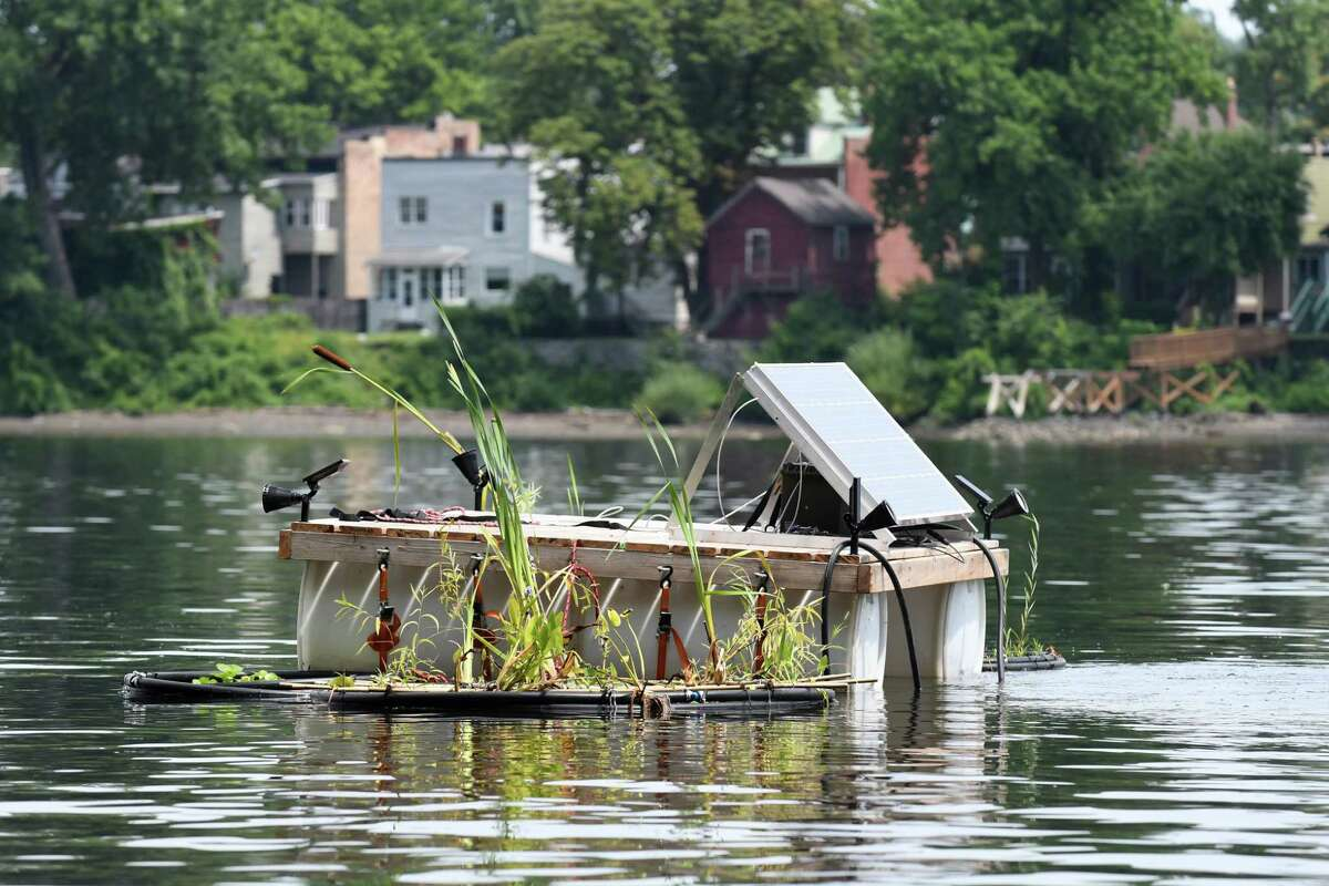 """The Radix Center's new """"floating island"""" that cleans up sewage using beneficial bacteria and living plants is moored off Island Creek Park in Albany's South End on Thursday, July 25, 2018, in Selkirk, N.Y. (Will Waldron/Times Union)"""