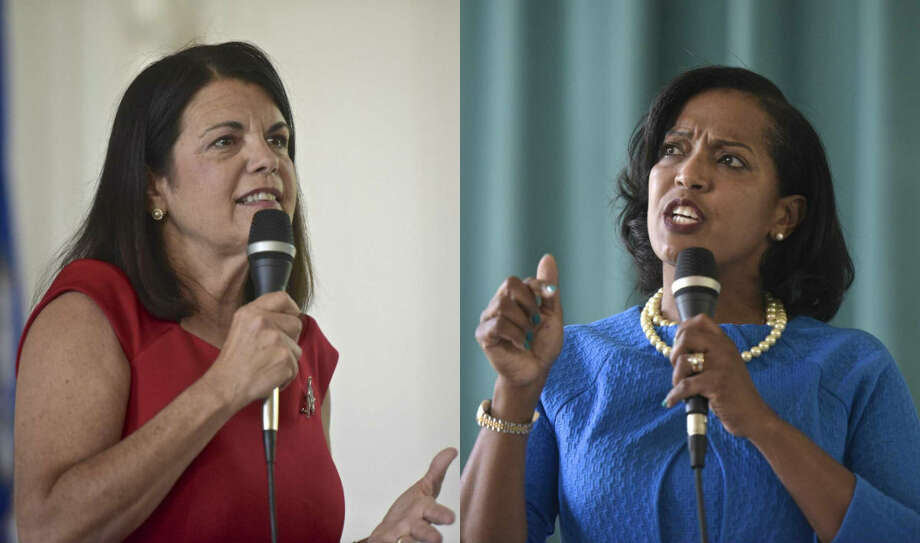 Mary Glassman (left) and Jahana Hayes will participate in a debate for Connecticut's 5th District Senate seat on Monday, July 30, 2018. Photo: H John Voorhees III / Hearst Connecticut Media