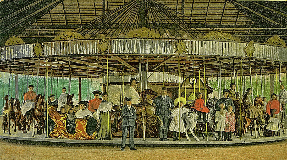 The Electric Park was built by a trolley and power company on Kinderhook Lake to showcase the wonders of electricity. Americans were still nervous about the mysterious form of power but seeing electricity twirl a carousel around reassured them that it could be safe.