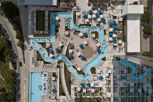 "A view of the Texas-shaped ""lazy river"" on the Parkview Terrace at the Marriott Marquis Houston."