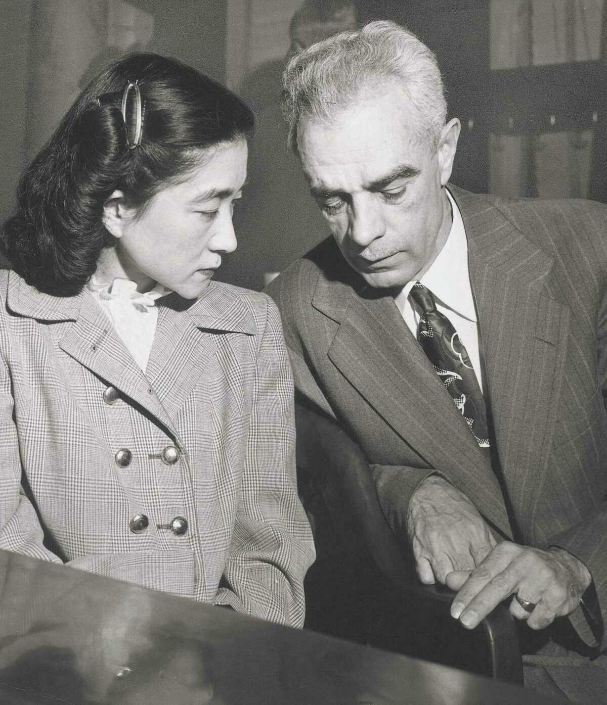 "Wayne Collins and Iva ""Tokyo Rose"" Toguri after her sentencing."