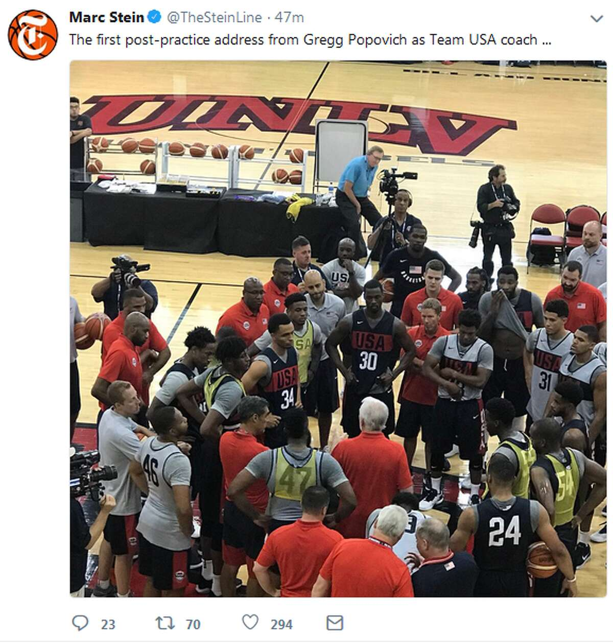 @TheSteinLine: The first post-practice address from Gregg Popovich as Team USA coach ...