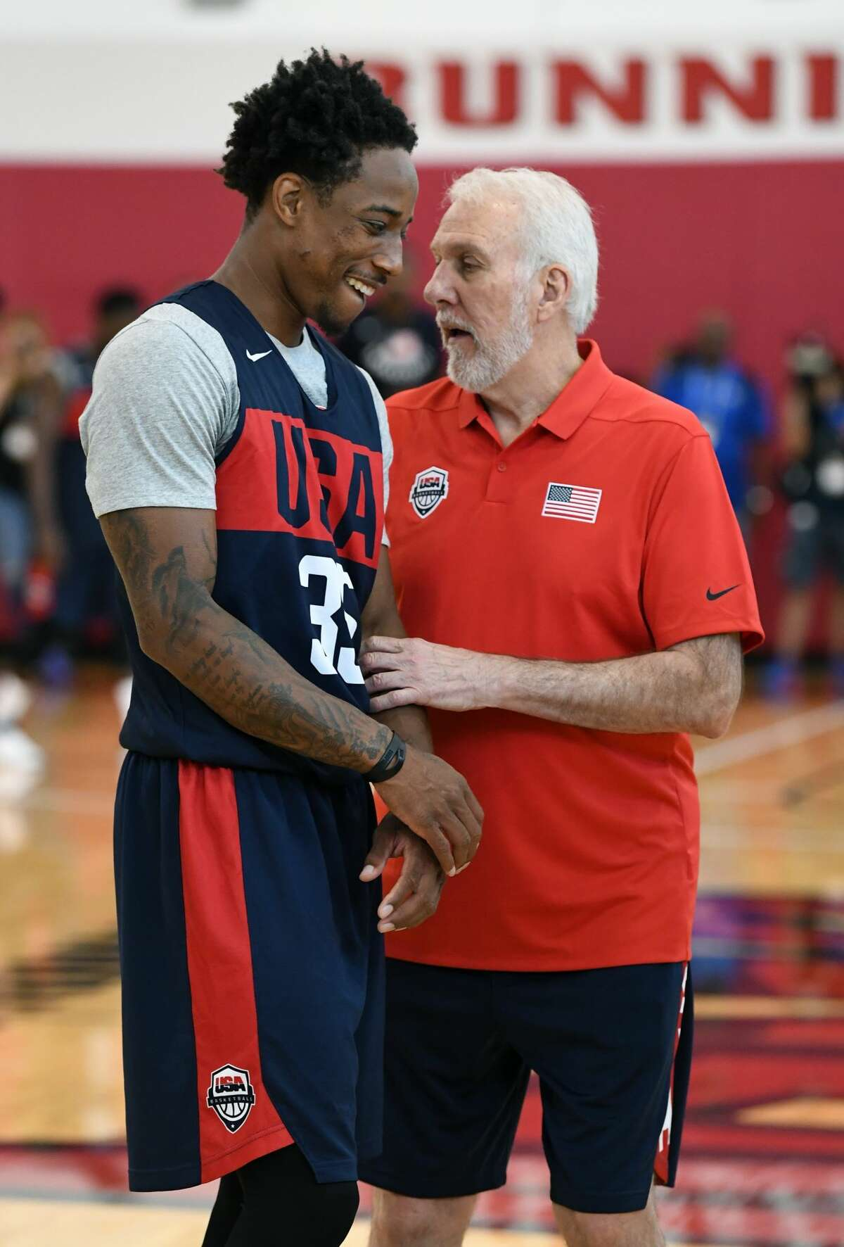 LAS VEGAS, NV - JULY 26: DeMar DeRozan #35 of the United States talks with head coach Gregg Popovich during a practice session at the 2018 USA Basketball Men's National Team minicamp at the Mendenhall Center at UNLV on July 26, 2018 in Las Vegas, Nevada. (Photo by Ethan Miller/Getty Images)