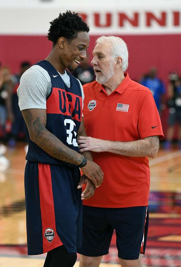 LAS VEGAS, NV - JULY 26:  DeMar DeRozan #35 of the United States talks with head coach Gregg Popovich during a practice session at the 2018 USA Basketball Men's National Team minicamp at the Mendenhall Center at UNLV on July 26, 2018 in Las Vegas, Nevada.  (Photo by Ethan Miller/Getty Images) Photo: Ethan Miller, Getty Images