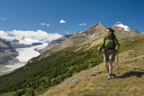 Woman Hiking on Parker Ridge with the Saskatchewan Glacier in the Background, Jasper National Park, Alberta, canada.