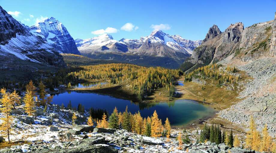 This is a vista of the Opabin Plateau in Yoho National Park, BC, Canada. Opabin Lake is just behind this spot, camera points roughly north with Lake O'Hara and Mary Lake hidden behind the cliff. Photo: © Jan Zwilling/Getty Images