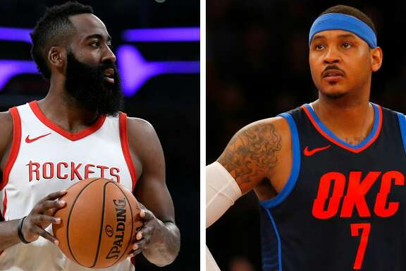 James Harden compared adding Carmelo Anthony to last season's trade for Chris Paul and the way he and Paul meshed in the Rockets' backcourt.