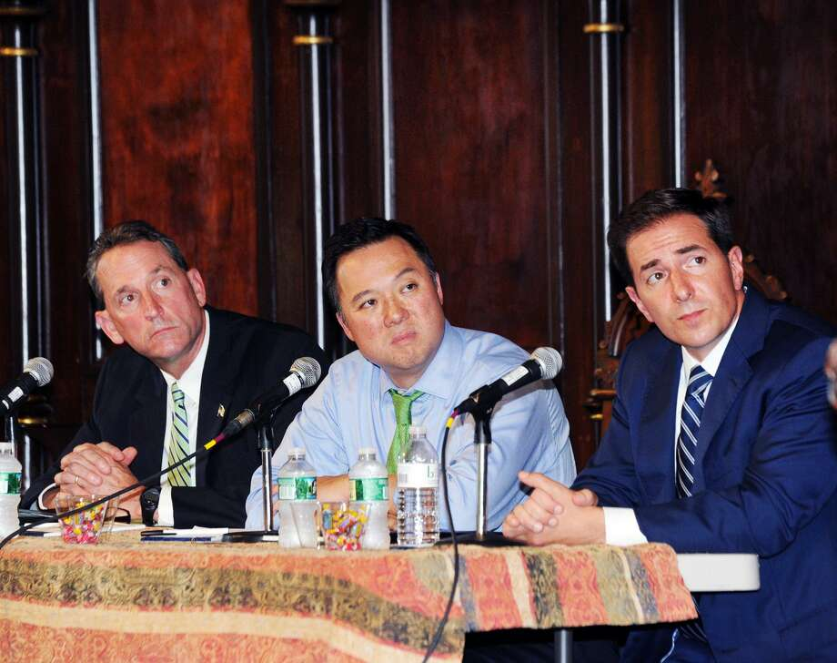 From left. State Sen. Paul Doyle of Wethersfield, Rep. William Tong of Stamford and Chris Mattei of Hartford, a former federal prosecutor, all Democratic candidates for attorney general during the Democratic candidates Connecticut Attorney General Forum at the Unitarian-Universalist Church in Stamford, Conn., Thursday evening, July 26, 2018. Photo: Bob Luckey Jr. / Hearst Connecticut Media / Greenwich Time