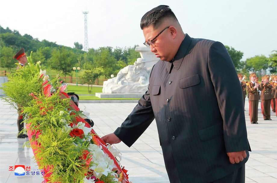 "In this July 26, 2018, photo, provided on July 27, by the North Korean government, North Korean leader Kim Jong Un visits the tombs, on the 65th anniversary of the signing of the ceasefire armistice that ends the fighting in the Korean War, in Pyongyang.  Independent journalists were not given access to cover the event depicted in this image distributed by the North Korean government. The content of this image is as provided and cannot be independently verified. Korean language watermark on image as provided by source reads: ""KCNA"" which is the abbreviation for Korean Central News Agency. (Korean Central News Agency/Korea News Service via AP) Photo: 朝鮮通信社, AP / KCNA via KNS"