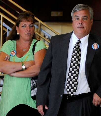 Lisa and Jim Bailey walk toward Judge Lamont's courtroom in the Albany County Judicial Center in Albany, New York July 8, 2010.  (Skip Dickstein/Times Union) Photo: Skip Dickstein / 2008