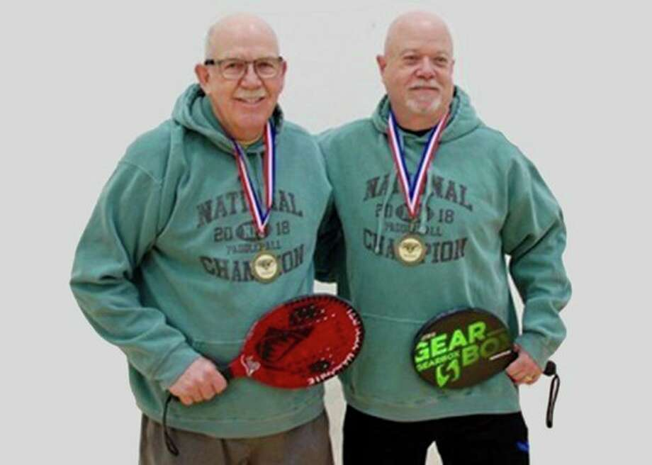 Midland's Dave Coffey, left, and Saginaw's Rick Bhirdo won the National Paddleball Association doubles vintage division in Lansing in April. (Submitted photo)