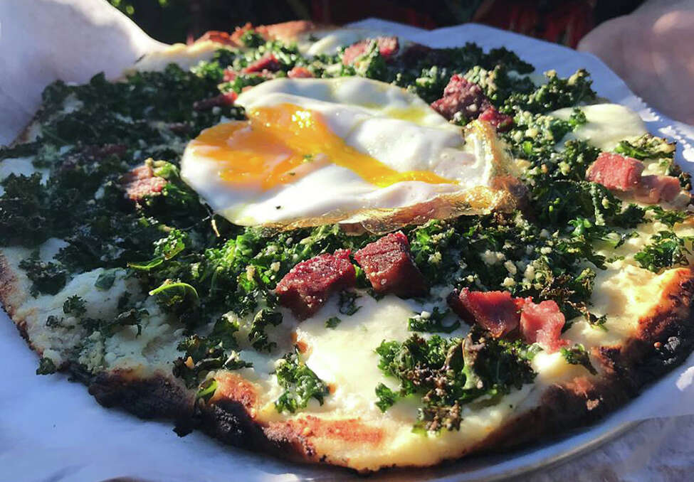 Kale, ham and egg pizza at June Farms.