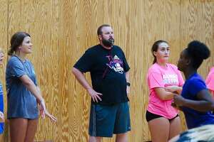 Pearland volleyball coach Christian Dunn, shown during the Lady Oilers' recent camp, believes his team can make a run at the District 23-6A title.