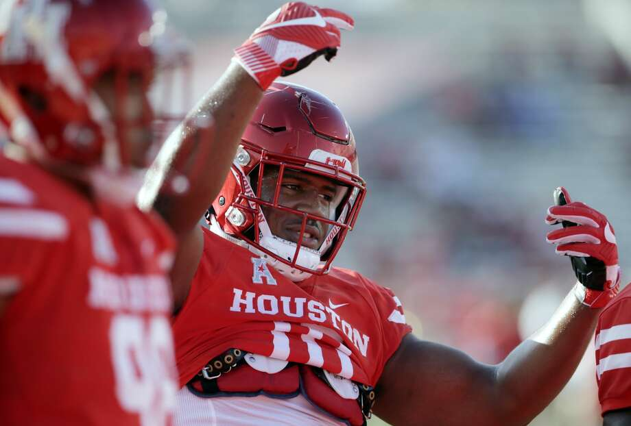 Houston defensive tackle Ed Oliver (10) during warm ups before the start of an NCAA college football game against SMU Saturday, Oct. 7, 2017, in Houston. (AP Photo/Michael Wyke) Photo: Michael Wyke/AP