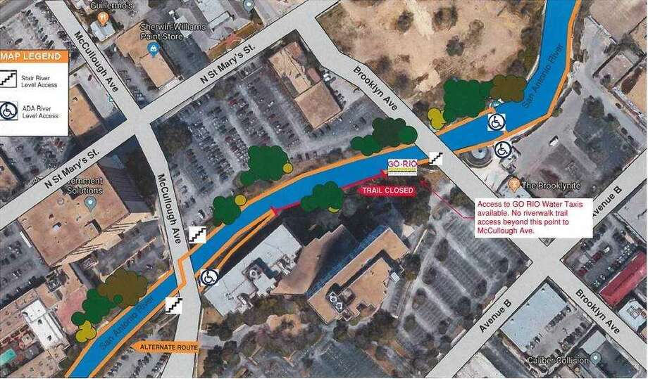 The red portion of the river walk is now closed to pedestrians through mid-September. Photo: San Antonio River Authority