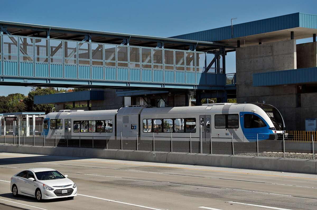 A new diesel-powered train sits at the Antioch Station during a test run of a new BART extension that runs from the Pittsburg-Bay Point station to Hillcrest Avenue in Antioch, Calif., on Wednesday, May 23, 2018. The new people moving line runs down the middle of Highway 4 for that length