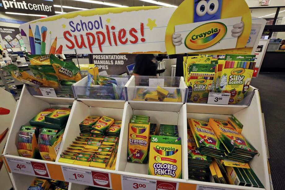 This is a display of back to school crayons and markers in a Staples in Pittsburgh, Wednesday, July 18, 2018. (AP Photo/Gene J. Puskar) Photo: Gene J. Puskar, STF / Associated Press / Copyright 2018 The Associated Press. All rights reserved.