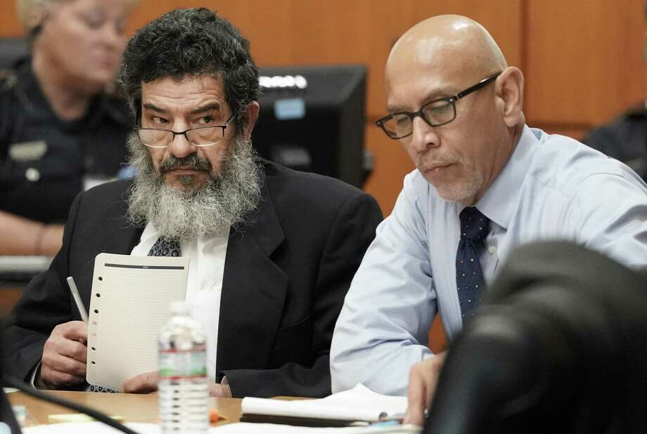 In this June 25, 2018 photo, Ali Mahwood-Awad Irsan, left, sits in court with his defense attorney Rudy Duarte, right, in Houston. Irsan, a 60-year-old Jordanian-American, is charged with capital murder, accused of killing his daughter's husband and her best friend, an Iranian activist.  (Melissa Phillip/Houston Chronicle via AP) Photo: Melissa Phillip, MBO / Associated Press / © 2018 Houston Chronicle