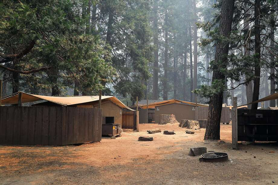 An empty campground in California's Yosemite National Park, July 26, 2018. Thousands of tourists were evacuated a day earlier as one of the country's most iconic natural preserves was blanketed with thick smoke from a 38,000-acre fire that has burned for nearly two weeks. Photo: JIM WILSON, NYT