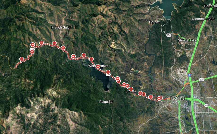 Highway And Road Closures Near Redding As Carr Fire Continues Sfgate