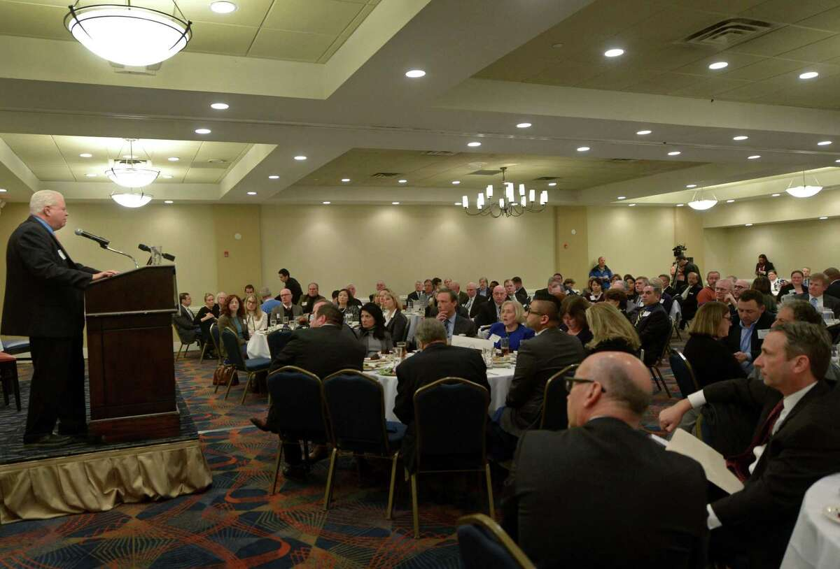 Local business leaders attend the ?'Economic Outlook & State Budget Review?' sponsored by The Greater Norwalk Chamber of Commerce and Webster Bank Wednesday, january, 17, 2018, at DoubleTree Hotel in Norwalk, Conn. Keynote speaker, Peter Gioia, vice president and economist at Connecticut Business Association, and legislative leaders, House Minority Leader Themis Klarides (R-Semour) and Senate Majority Leader Bob Duff (D-Norwalk), recap past and predict Connecticut?'s future during the event.