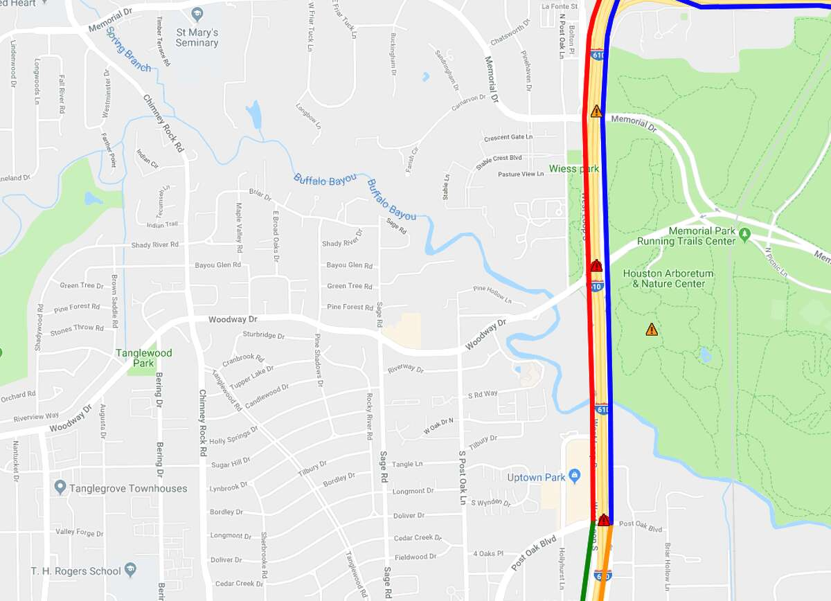 Closure: IH-610 West Loop southbound frontage road from Memorial Drive to Post Oak Road (One inside lane) Ballpark re-opening: Fall