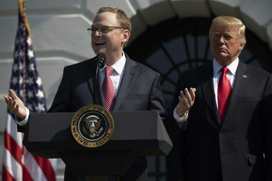 Kevin Hassett, chair of the Council of Economic Advisers, speaks about the economic growth report, as President Donald Trump looks on, at the White House in Washington, July 27, 2018. The Commerce Department released its initial estimate of second-quarter economic growth Friday, showing U.S. gross domestic product growth had risen at an annual rate of 4.1 percent. It was the strongest quarter of growth since 2014. Photo: SAMUEL CORUM /NYT / NYTNS