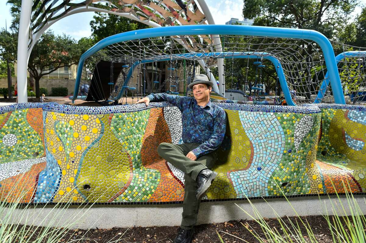 Artist Oscar Alvarado works mostly with mosaic tiles. Some of it can be seen at Yanaguana Garden at Hemisfair.