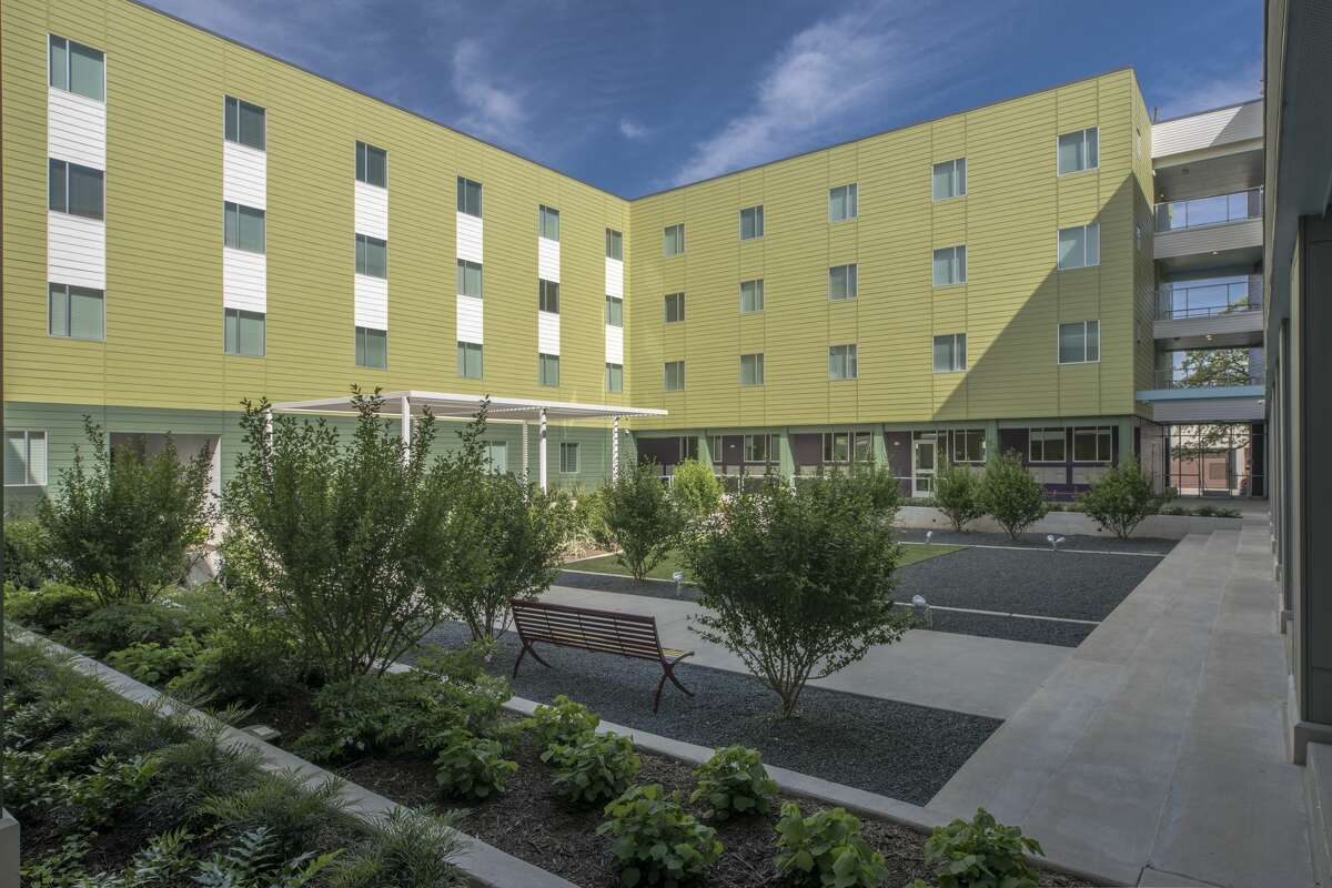 Excellence in design is part of the solution to housing Houston's most vulnerable residents. In this photo: the interior courtyard of the New Hope Housing at Harrisburg in the East End.