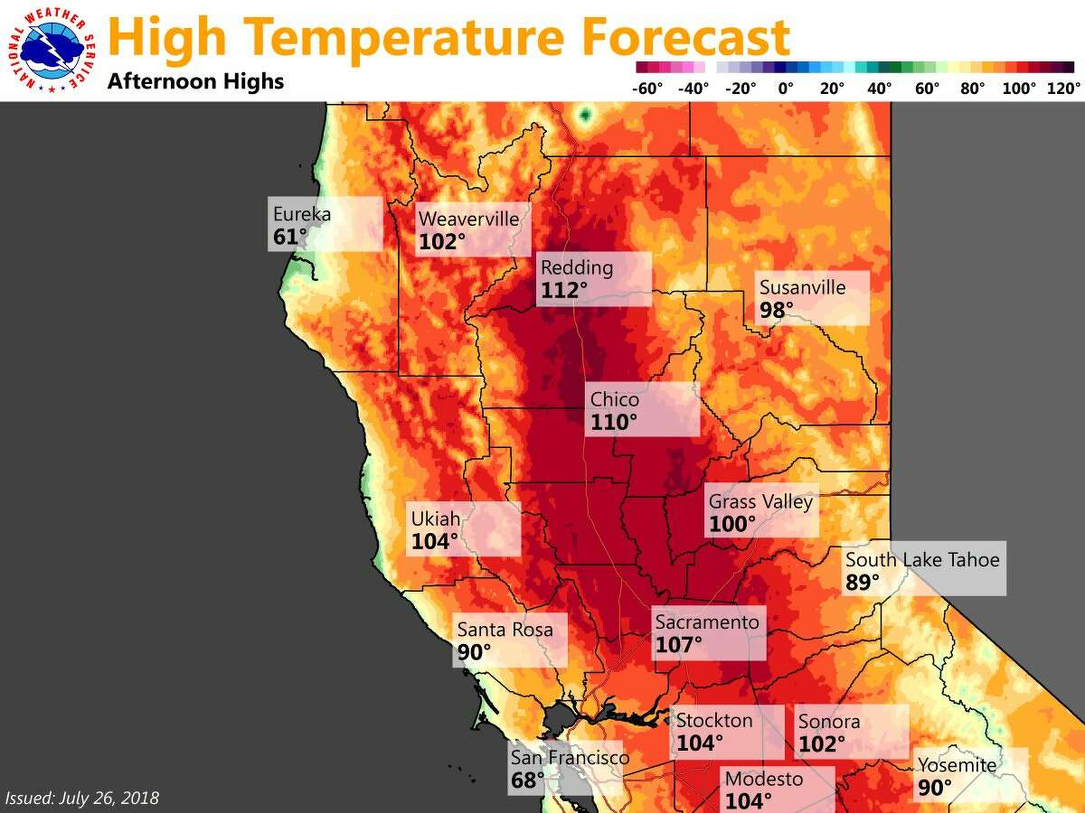 Forecast high temperatures for California July 26, 2019.