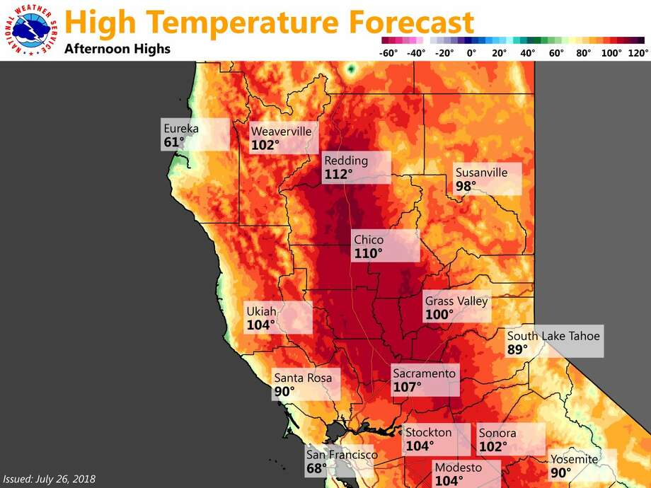 Forecast high temperatures for California July 26, 2019. Photo: National Weather Service