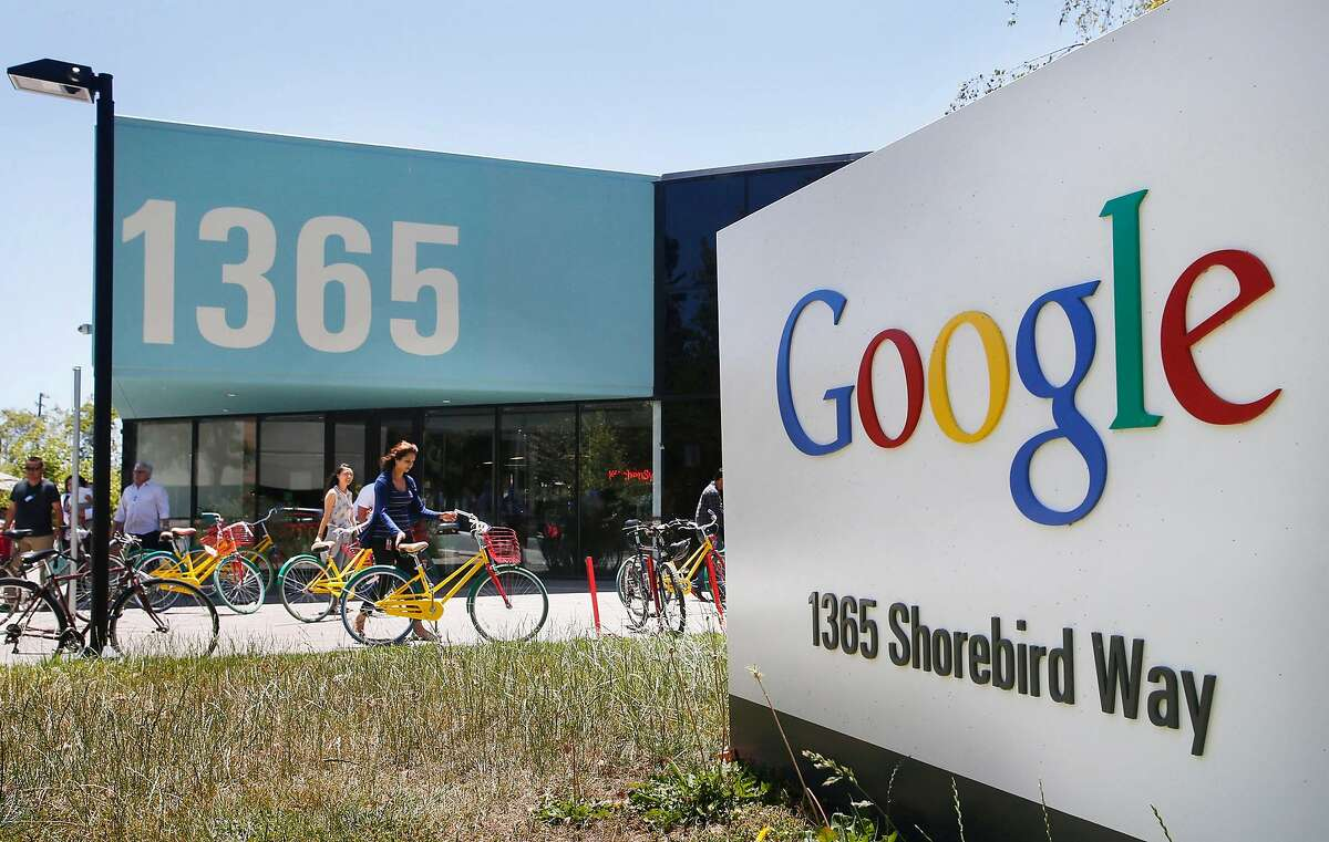 Google employees ride their Google multi-colored bicycles to and from the GooglePlex along Shorebird Way June 24, 2014 in Mountain View, Calif. Google's latest diversity report shows continued struggles in making its workplace more diverse. (Patrick Tehan/Bay Area News Group/TNS)