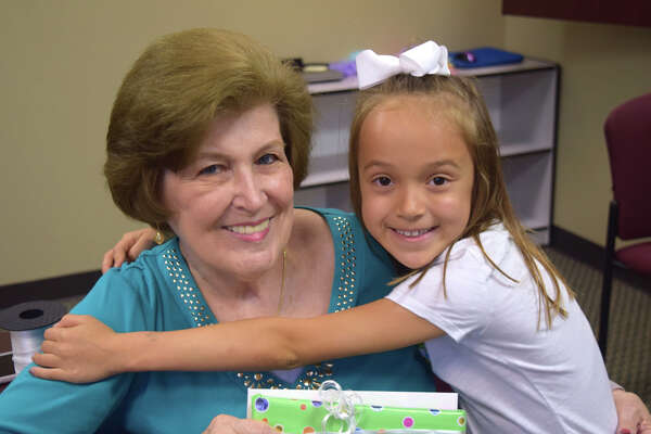 Gail Barr meets with Madeleine Oyler, a student she was mentoring in Pearland ISD last year. Local school districts are eager for help from older adults who volunteer to help students.