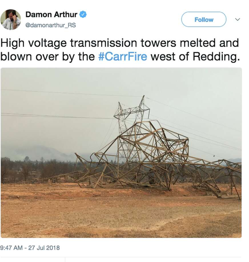 """High voltage transmission towers melted and blown over by the #CarrFire west of Redding,"" shared Redding.com Reporter Damon Arthur on Twitter. Photo: Damon Arthur / Twitter: @damonarthur_RS"