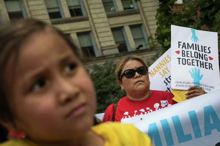 Activists, including childcare providers, parents and their children, protest against the Trump administrations recent family detention and separation policies for migrants along the southern border, near the New York offices of U.S. Immigration and Customs Enforcement (ICE), July 18. The nation has a long history immigration crackdowns.