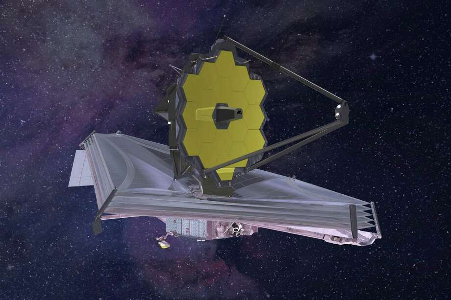 This 2015 artist's rendering provided by Northrop Grumman via NASA shows the James Webb Space Telescope. On June 27, NASA announced that the next-generation telescope will now fly no earlier than 2021 and the its lifetime cost is now expected to reach nearly $10 billion. Photo: /Associated Press / Northrop Grumman via NASA