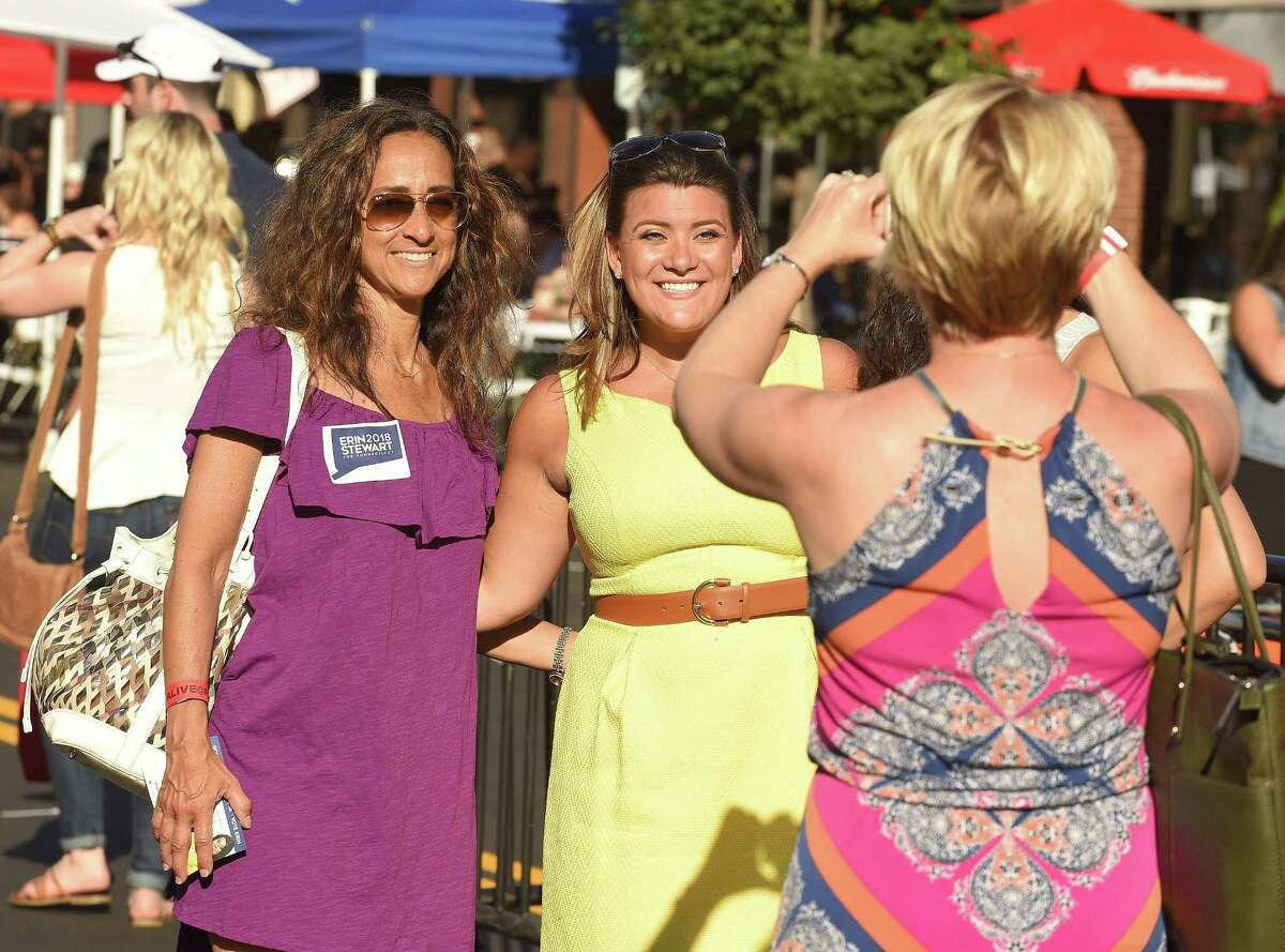 Erin Stewart, who is a Republican running for Connecticut lieutenant governor, is photograph campaigning at Stamford's Alive@Five summer concert series on July 19.
