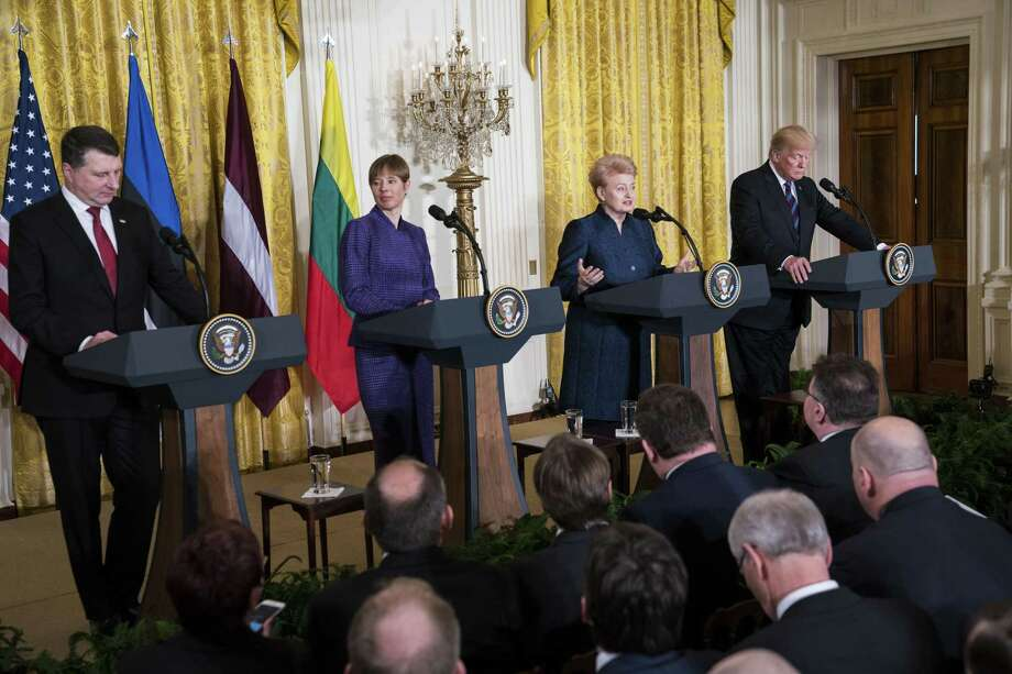 President Donald Trump holds a joint news conference with the leaders of Estonia, Latvia and Lithuania, at the White House April 3. Trumps criticism of NATO has made the leaders of the Baltic states nervous. From left: President Raimonds Vejonis of Latvia, President Kersti Kaljulaid of Estonia, President Dalia Grybauskaite of Lithuania, and Trump. Photo: DOUG MILLS /NYT / NYTNS