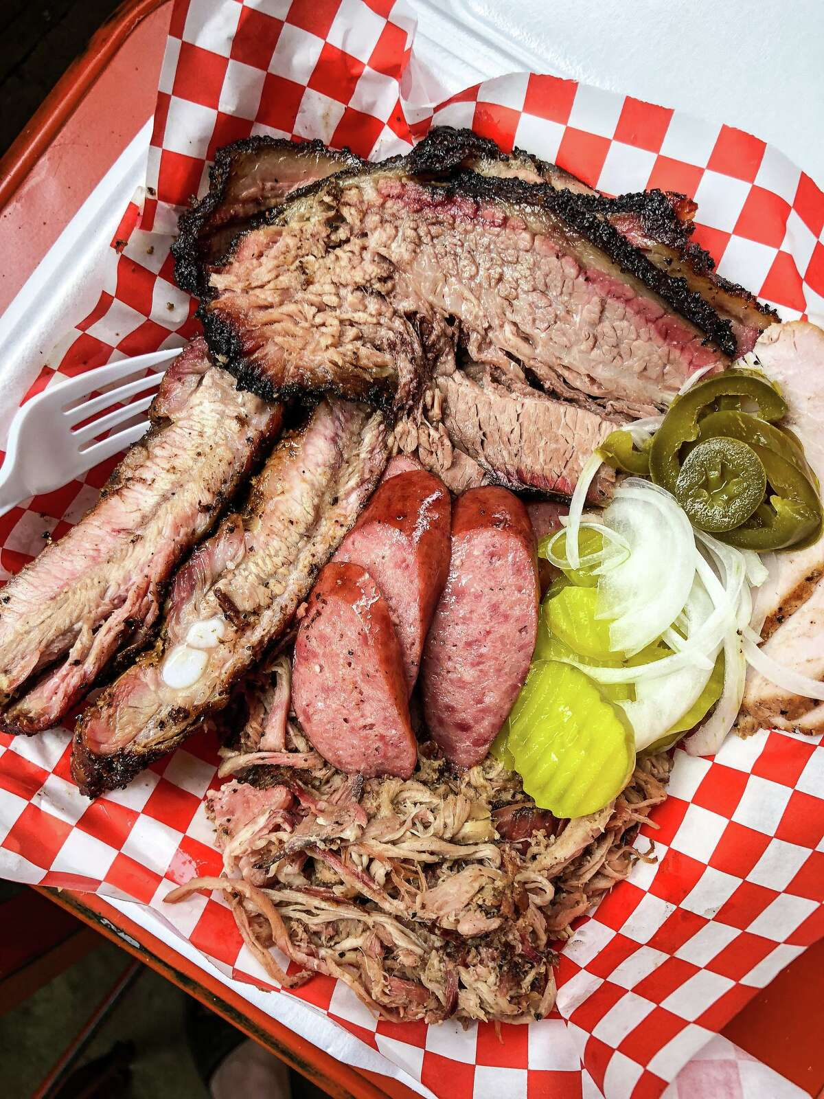 Eaker Barbecue's first service was on Super Bowl Sunday this past February. Since then, they have attracted a following by posting their opening times and locations every Monday on their Facebook page.