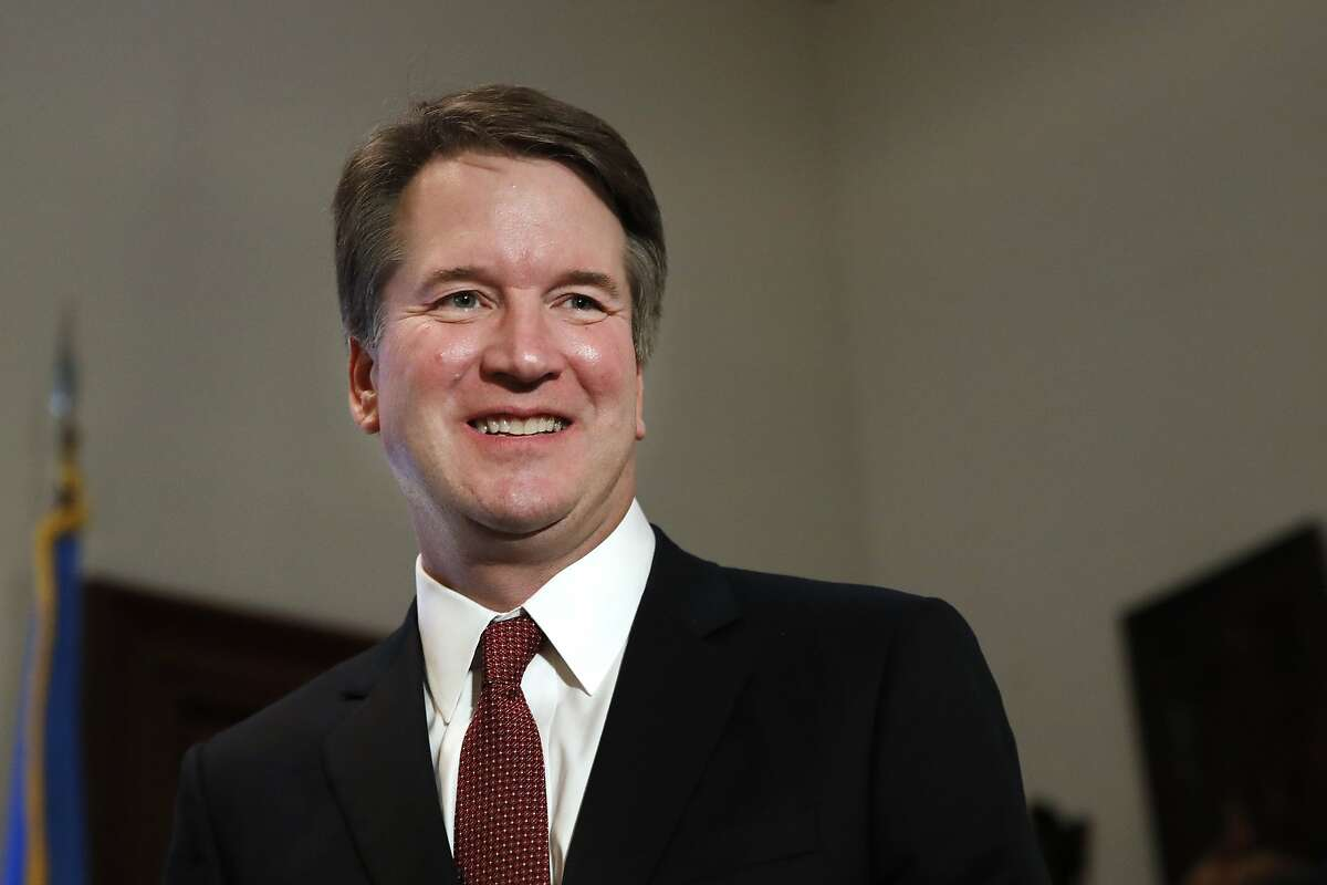 In this July 26, 2018, photo, Supreme Court nominee Judge Brett Kavanaugh meets with Sen. Jim Inhofe, R-Okla., on Capitol Hill in Washington. More than a decade after he served as what�s been called the president�s �inbox and outbox,� Kavanaugh�s role as White House staff secretary to President George W. Bush has become a flashpoint as Republicans push his confirmation to the Supreme Court. (AP Photo/Jacquelyn Martin)