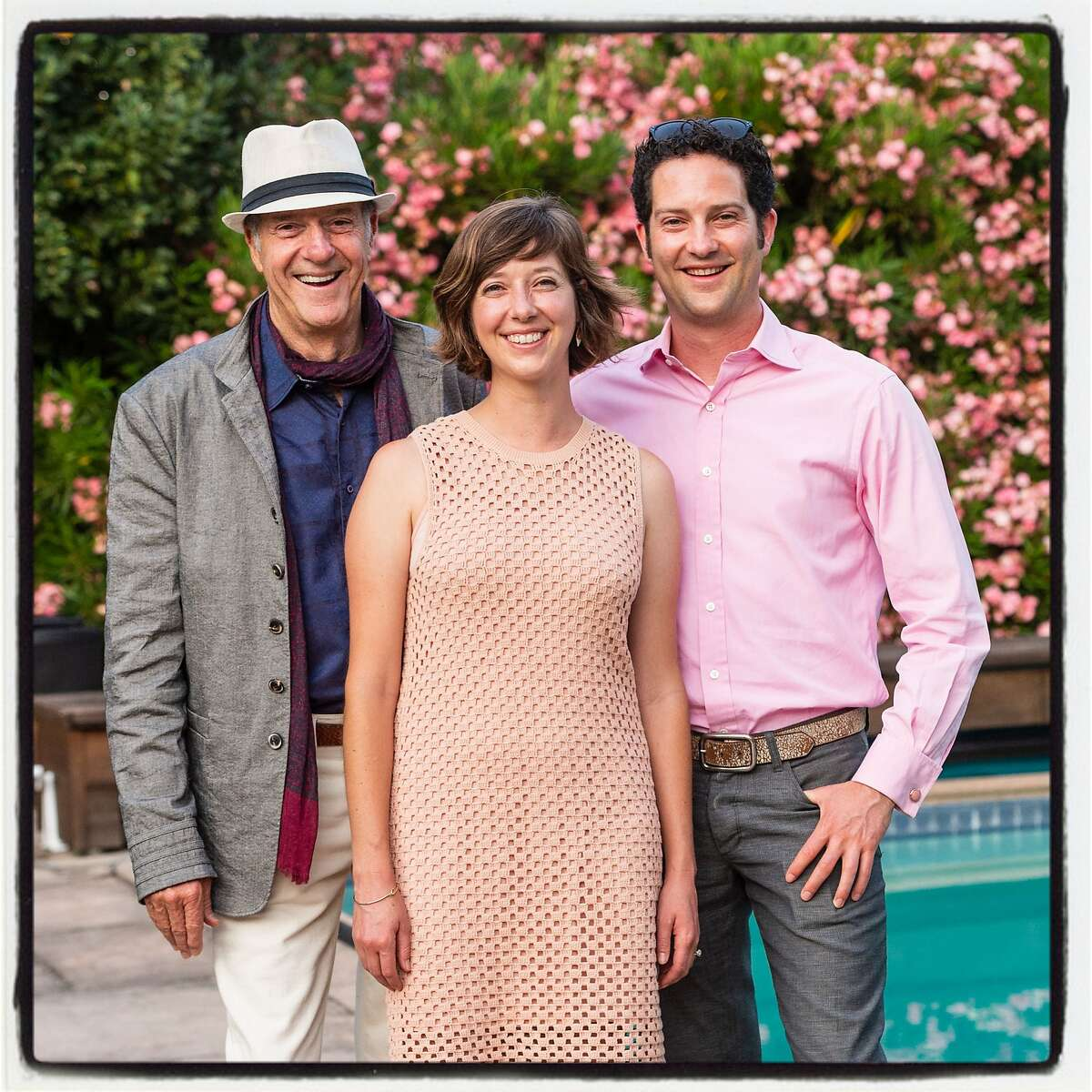 Vintner John Trefethen (left) with daughter Hailey Trefethen and son Loren Trefethen celebrate their winery's 50th anniversary during Festival Napa Valley. July 21, 2018.