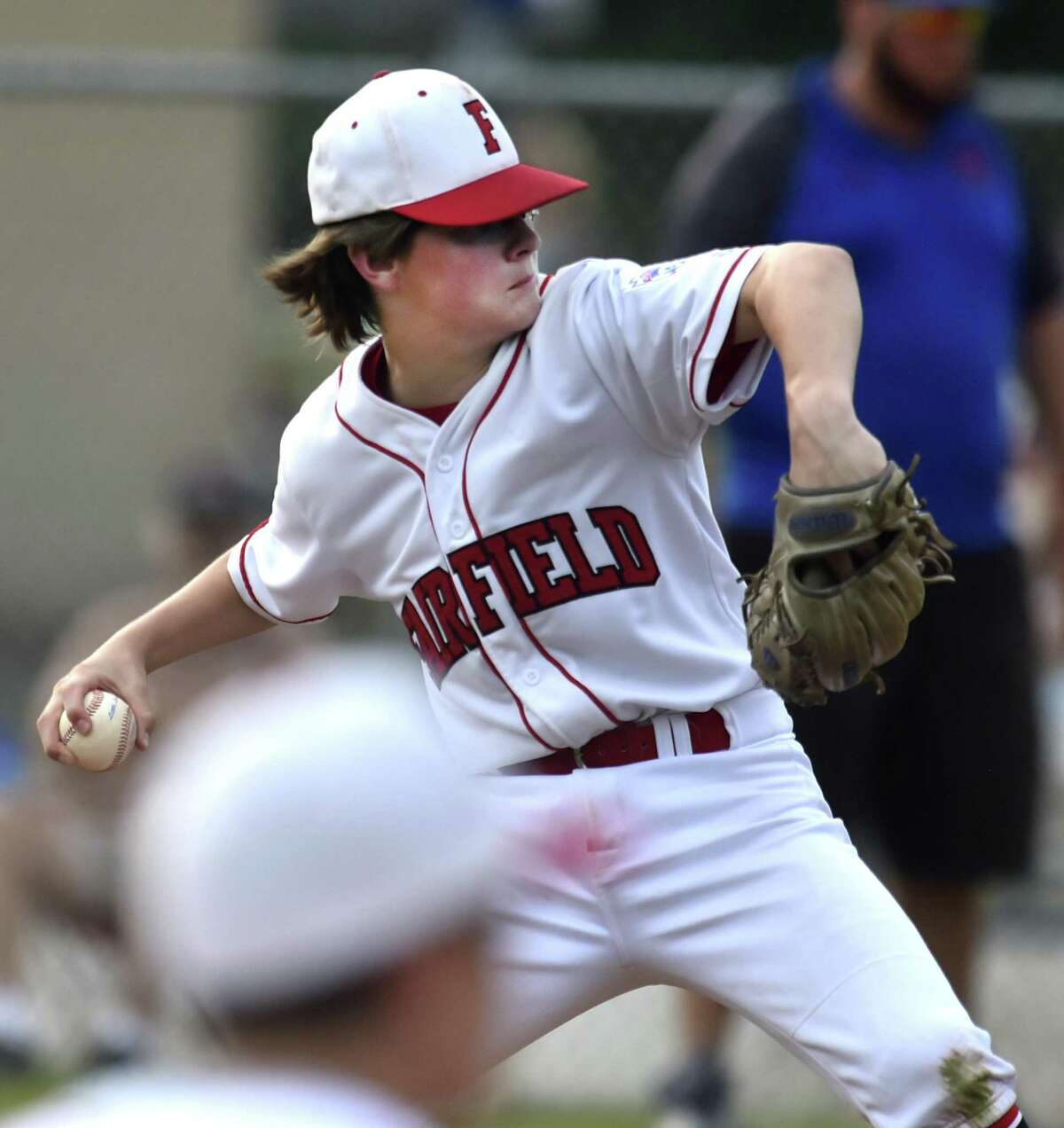 East Lyme, Connecticut - Friday, July 27, 2018: Pierce Cowles of Fairfield American pitches against Manchester Little League during fourth inning of the winners bracket of the Little League State playoffs Friday evening at Presidents Field in East Lyme. Fairfield American defeated Manchester 4-1.