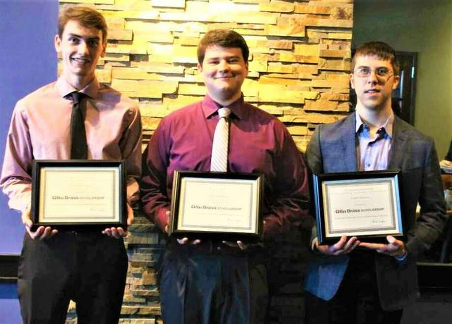Global Brass and Copper announced this year's Olin Brass Scholarship recipients in April, among children of employees based on their ACT scores. Honorees include, pictured from left to right, Daniel Thomas of Edwardsville High School (son of Rich and Theresa Thomas); Andrew Brinkman of Marquette High School in Alton (son of Tom and Krystal Brinkman); and Darren Kirsch of Edwardsville High School (son of Dave and Deborah Kirsch). A fourth scholarship was awarded at a separate dinner to John Hosey, not pictured, (son of Sean Hosey) of Hall High School in West Hartford, Connecticut. Photo:       For The Telegraph