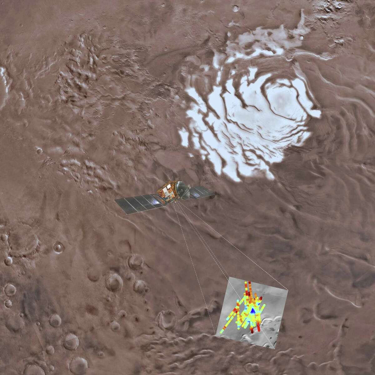 In a handout photo provided by the European Space Agency and the National Institute of Astrophysics, a view of the southern polar plain of Mars, with the Mars Express?'s color-coded findings superimposed at the site where they were detected. Italian scientists working on the European Space Agency?'s Mars Express mission announced that for the first time, a large body of liquid water had been detected by radar measurements beneath the ice cap near the Martian south pole.(Davide Coero Borga/ European Space Agency/ National Institute Of Astrophysics via The New York Times) -- NO SALES; FOR EDITORIAL USE ONLY WITH NYT STORY MARS LAKE BY KENNETH CHANG FOR JULY 25, 2018. ALL OTHER USE PROHIBITED. --